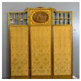 Louis XVI style giltwood 3-panel dressing screen