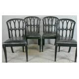 Set of 4 Regency style black lacquered side chairs
