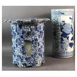 Blue and white porcelain garden seat;