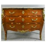 Louis XV style marquetry marble top commode