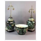 Pair of Asian porcelain lamps;