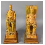 Pair of Spanish carved wood figures