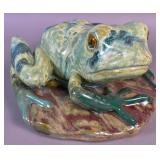 Green glazed ceramic frog
