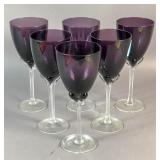 Set of 6 purple and clear glass wine glasses