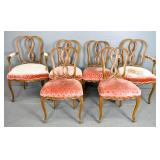 Set of 6 Italian Rococo style walnut chairs;