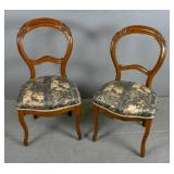 Pair of Victorian mahogany balloon back chairs