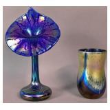 Correia favrile style blue glass tulip vase;