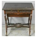 Victorian turned & carved mahogany sewing table