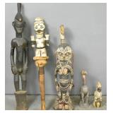6 African carved wood figures
