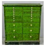 Green painted dentist cabinet