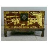 Chinese export paint-decorated leather trunk