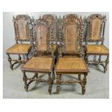 Set of 6 English Baroque style oak side chairs