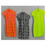 3 Chinese silk and rayon qipao dresses