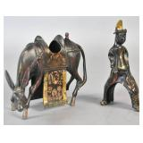 Chinese gilt & lacquered bronze figural group