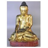 Burmese gilt & painted bronze figure of Buddha