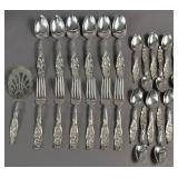 Sterling silver partial flatware service