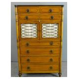 Kittinger inlaid walnut tall chest of drawers