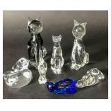 Group of 7 crystal and glass cats
