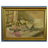 Asian silk embroidery of kittens beside fishbowl