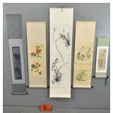5 Asian scrolls;