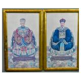 Pair of Chinese portraits of Emperor & Empress