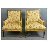 Pair of Louis XVI style mahogany bergeres