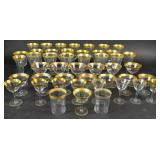 Assembled set of gilt-decorated crystal stemware