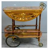 Rosewood inlaid bar cart