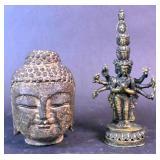Stone Buddha head;