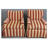 Pair of striped upholstered club chairs