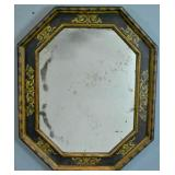 Painted and parcel gilt octagonal mirror