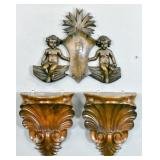 Pair of carved wood wall brackets;