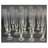 Set of 13 Murano style glass champagne flutes