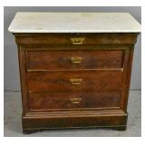 Restauration style mahogany marble top commode