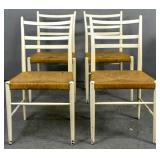 Set of 4 white painted rush seat kitchen chairs
