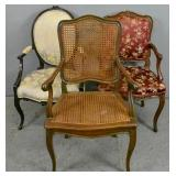 2 Louis XV style walnut fauteuils;