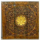Asian 3-panel carved & painted wood screen