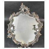 Silver plated Rococo style table mirror