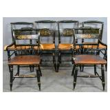 Pair of black painted Hitchcock armchairs;