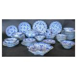 Chinese Export blue & white partial dinner service