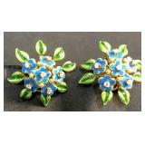 Pair of Tiffany gold, enamel & diamond earrings