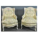 Pair of Louis XV style white painted bergeres