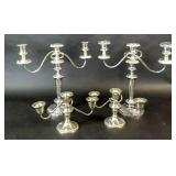 2 pairs of Georgian style silver plated candelabra