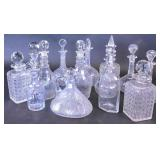 Group of 14 crystal & glass decanters