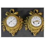 Louis XVI style gilt bronze wall clock & barometer