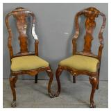 Pair of Dutch mahogany & marquetry side chairs