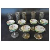 7 porcelain & sterling silver sherbet footed cups;