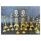 Group of brass candlesticks