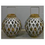 Pair of metal and wood lanterns