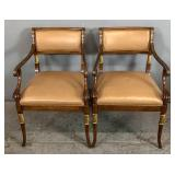 Pair of Regency style mahogany open armchairs